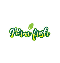 farm fresh word font text typographic logo design vector image