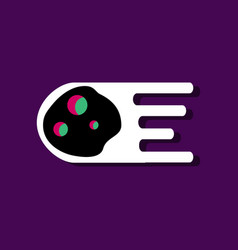 Flat icon design collection space meteorite in vector