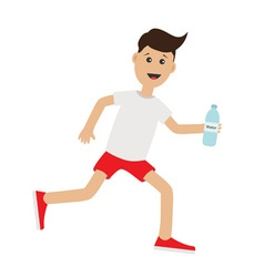 Funny cartoon running guy holding water bottle vector