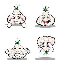 Garlic cartoon character set collection vector