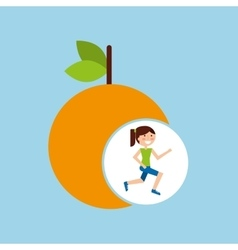 Girl jogger orange healthy lifestyle vector