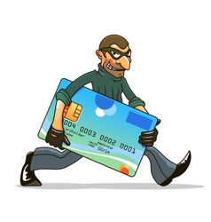 Hacker or thief stealing credit card vector