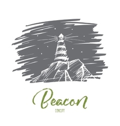 Hand drawn beacon lighting at night lettering vector