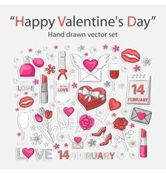Happy Valentines day set vector image vector image