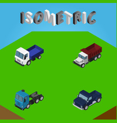 isometric car set of lorry suv truck and other vector image vector image