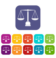 Justice scale icons set flat vector
