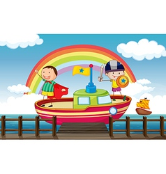 Kids playing in the ship vector image vector image