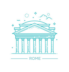line of pantheon rome italy vector image vector image