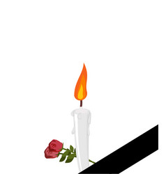 mourning frame black ribbon candles and flowers vector image vector image
