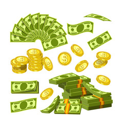 Paper money and gold coins in big amounts vector