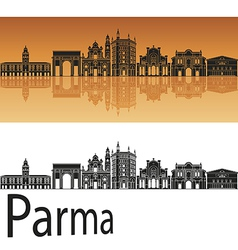 Parma skyline in orange background vector