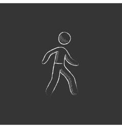 Pedestrianism drawn in chalk icon vector