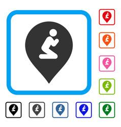 prayer map marker framed icon vector image