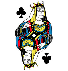 queen of clubs isolated french version vector image vector image