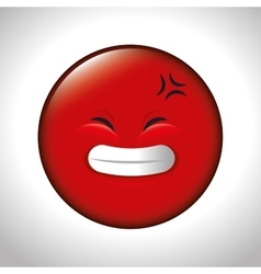 Red emoticon smile closed eyes vector