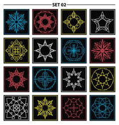 Set of floral monogram design line art elements vector