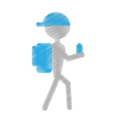 Silhouette man hiking cap packback bottle water vector