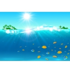 Summer vacation tropical ocean island vector