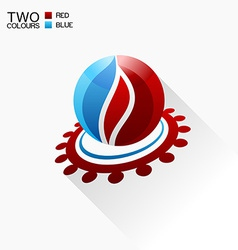 Symbol fire red and blue round glass icon with vector