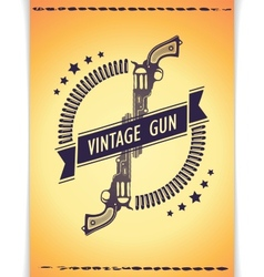 Two retro gun with tape and bullets vector image