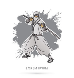 White ninja and sword vector