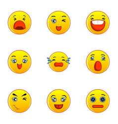yellow smileys icons set flat style vector image vector image