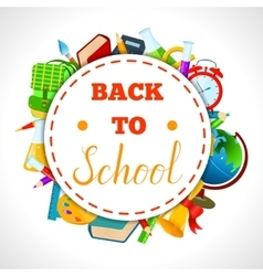 Back to school round sticker with supplies vector