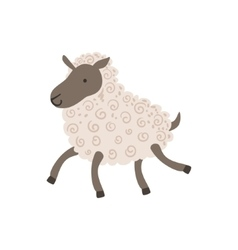 Grey sheep with white wool walking vector