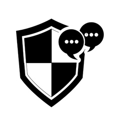 Single shield and conversation bubble icon vector