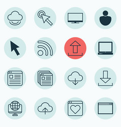 Set of 16 web icons includes save data wifi vector