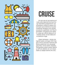 Set of sea cruise cartoon style on blue and white vector