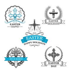 Easter holy cross with dove bird badge set vector