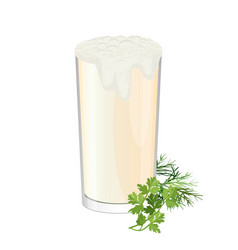 Glass of ayran with dill and parsley herbs vector