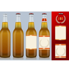 Four beer bottles with label vector