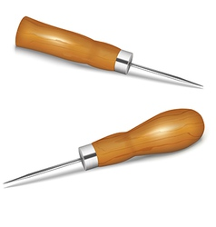 Awls with wooden handle vector