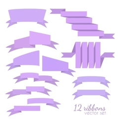 Set of 12 ribbons vector