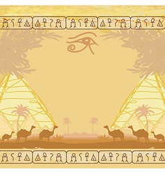 Traditional horus eye and camel caravan in wild vector