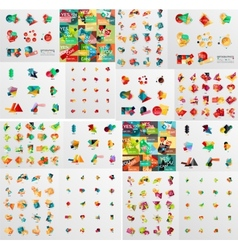 Super mega set of abstract geometric paper graphic vector