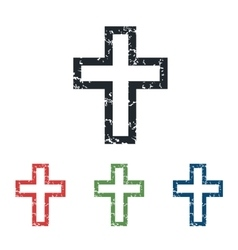 Christian cross grunge icon set vector