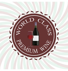 Glass of red wine and bottle label stamp design vector