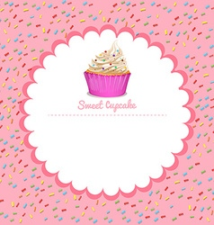 Border design with cupcake vector