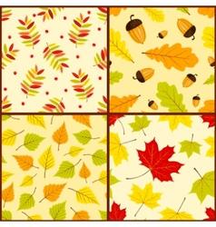 Four autumn seamless patterns vector