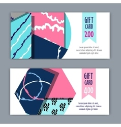 Gift card template with geometric shapes vector