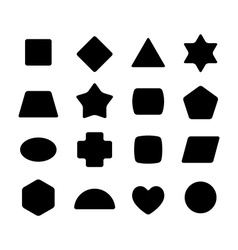 Set of geometric rounded kid toys shapes black on vector