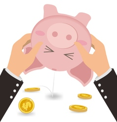 Businessman shaking money coin out of cute piggy vector