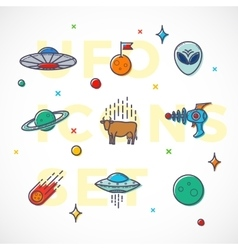 Outline style ufo or alien icons set vector