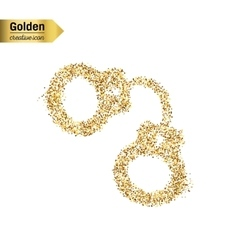 Gold glitter icon of handcuffs isolated on vector
