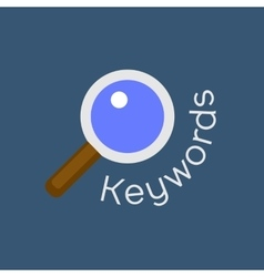 Keywords searching concept with magnifying glass vector