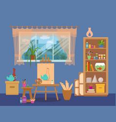 art studio interior colorful vector image