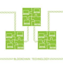 blockchain laptop bitcon vector image vector image